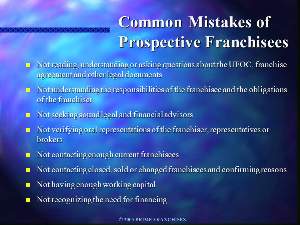 Common Mistakes of Prospective Franchisees