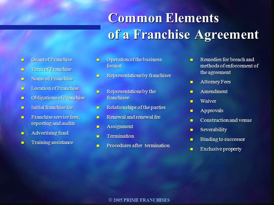 Common Elements of a Franchise Agreement