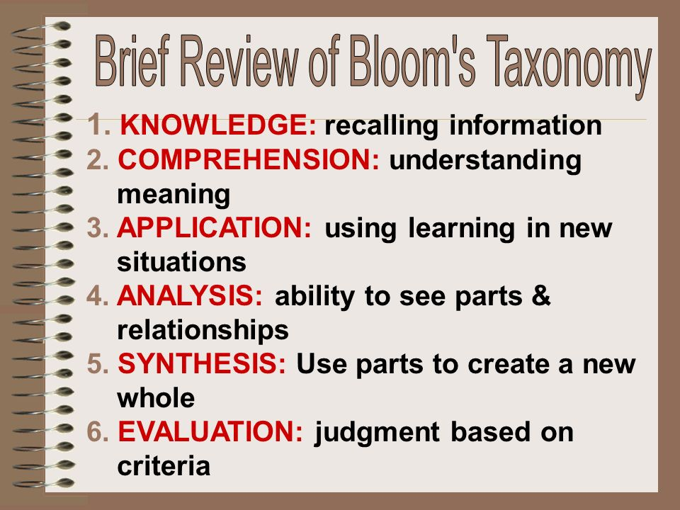 Brief Review of Bloom s Taxonomy