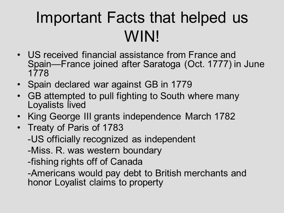 Important Facts that helped us WIN!