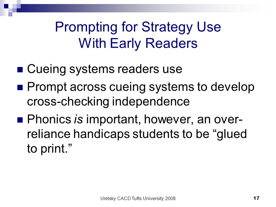 Prompting for Strategy Use With Early Readers
