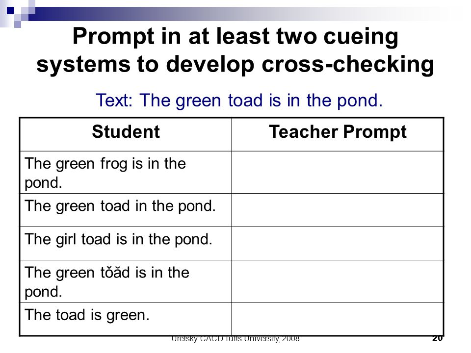 Prompt in at least two cueing systems to develop cross-checking