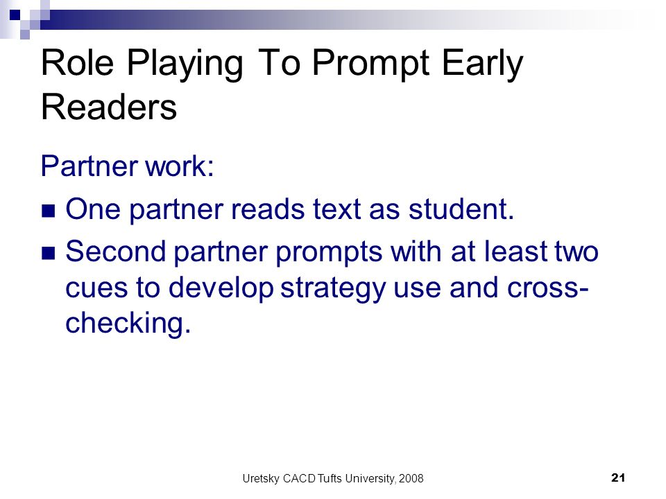Role Playing To Prompt Early Readers