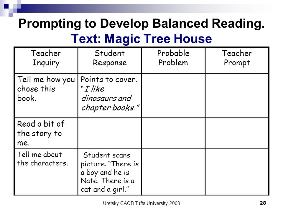 Prompting to Develop Balanced Reading. Text: Magic Tree House