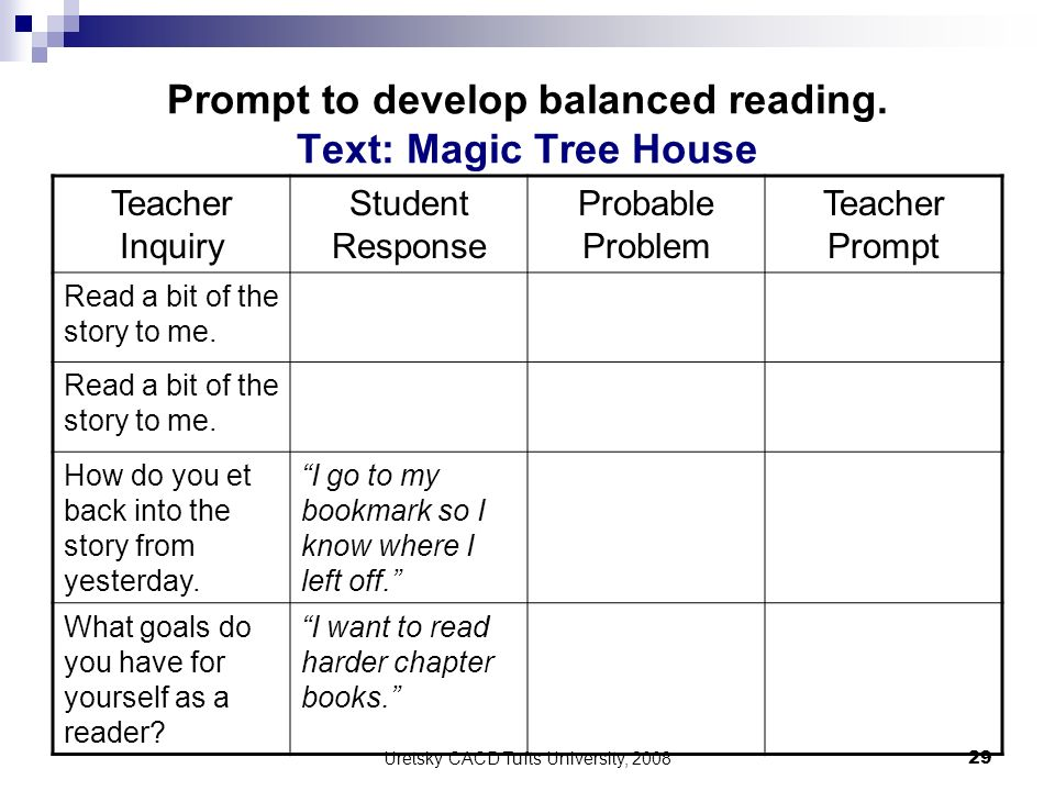 Prompt to develop balanced reading. Text: Magic Tree House