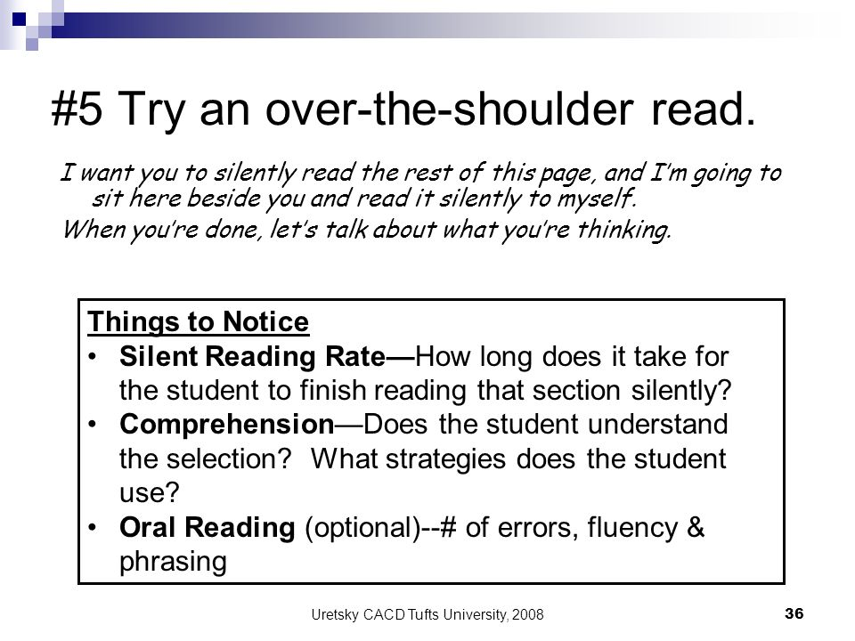 #5 Try an over-the-shoulder read.