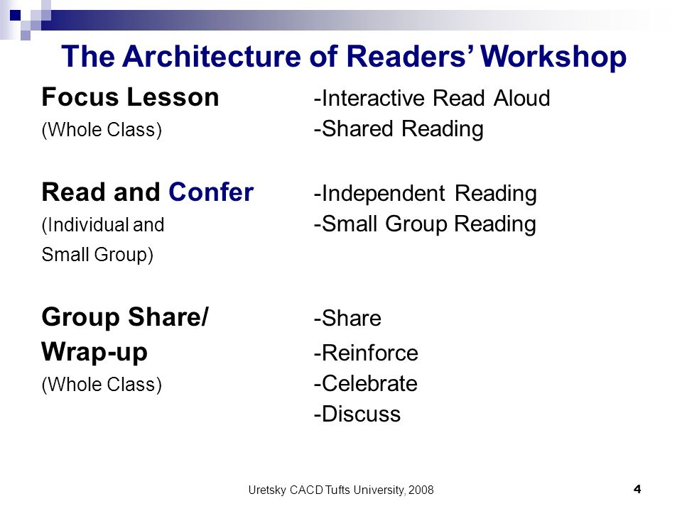The Architecture of Readers' Workshop
