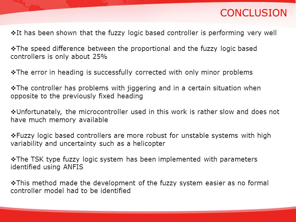 conclusion It has been shown that the fuzzy logic based controller is performing very well.