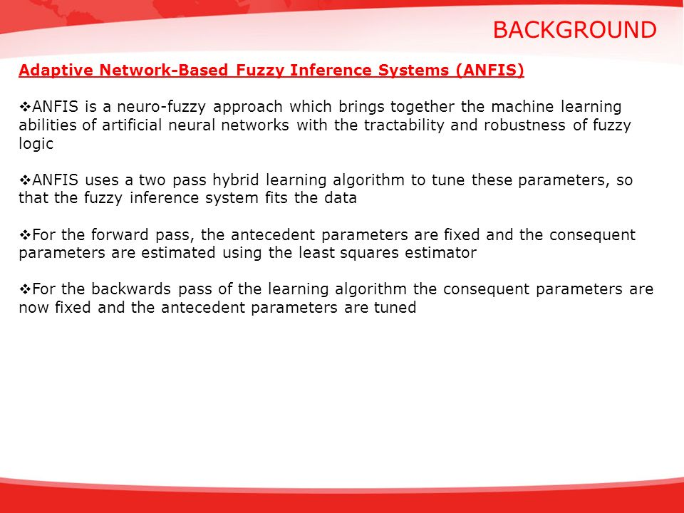 BACKGROUND Adaptive Network-Based Fuzzy Inference Systems (ANFIS)