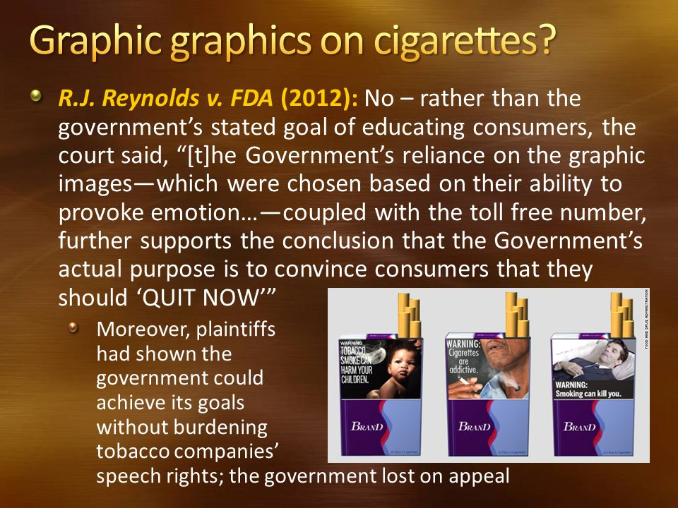 Graphic graphics on cigarettes