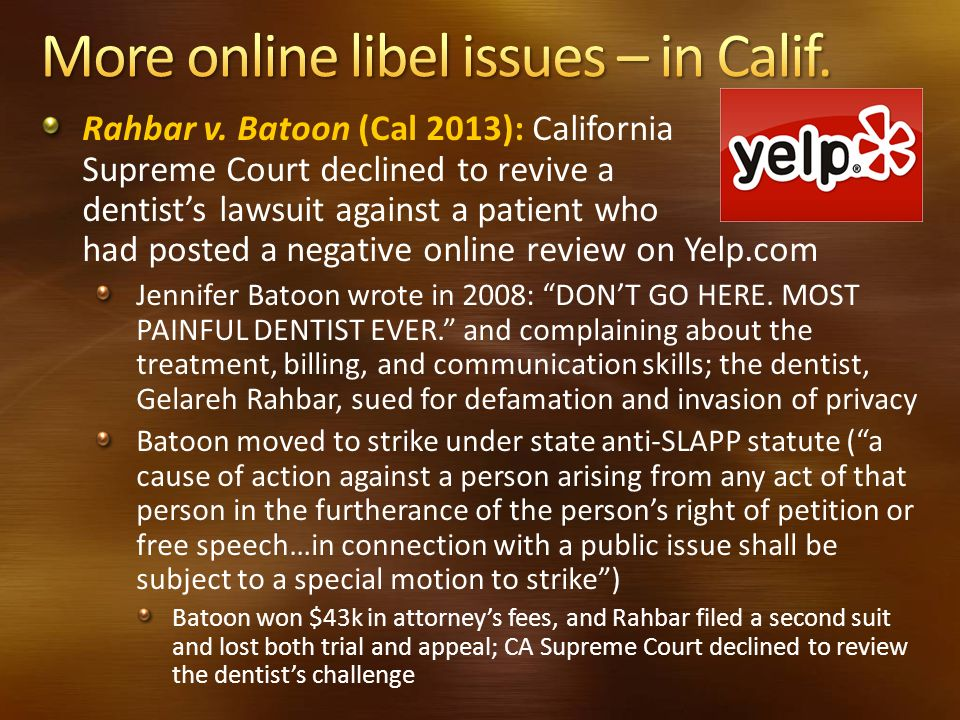 More online libel issues – in Calif.