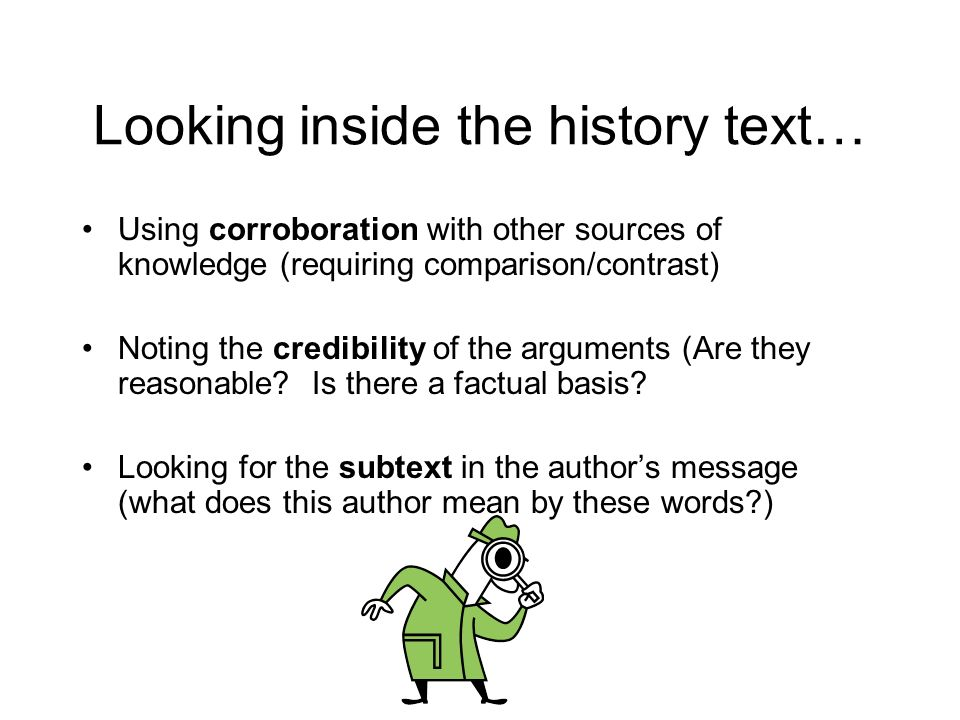 Looking inside the history text…