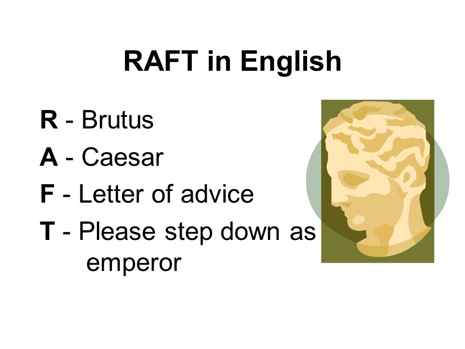 RAFT in English R - Brutus A - Caesar F - Letter of advice