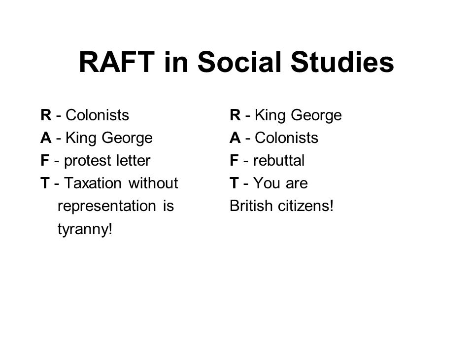RAFT in Social Studies R - Colonists R - King George