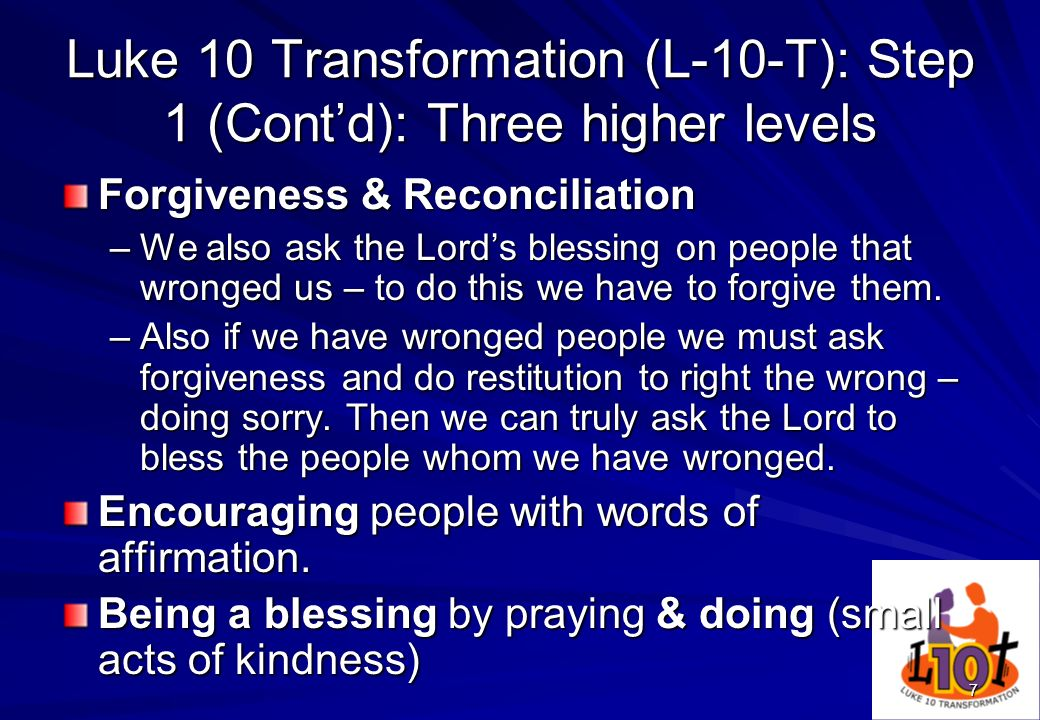 Luke 10 Transformation (L-10-T): Step 1 (Cont'd): Three higher levels