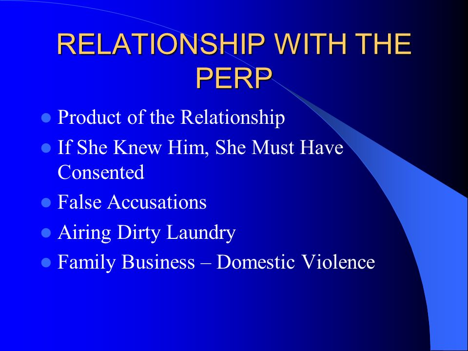 RELATIONSHIP WITH THE PERP