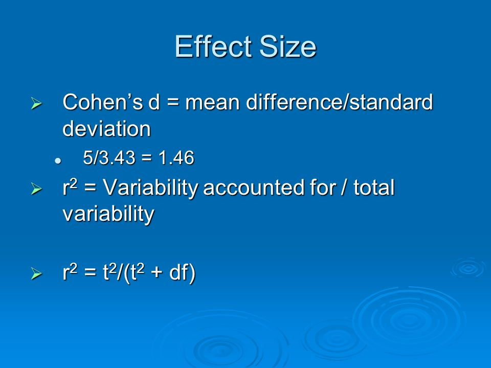 Effect Size Cohen's d = mean difference/standard deviation