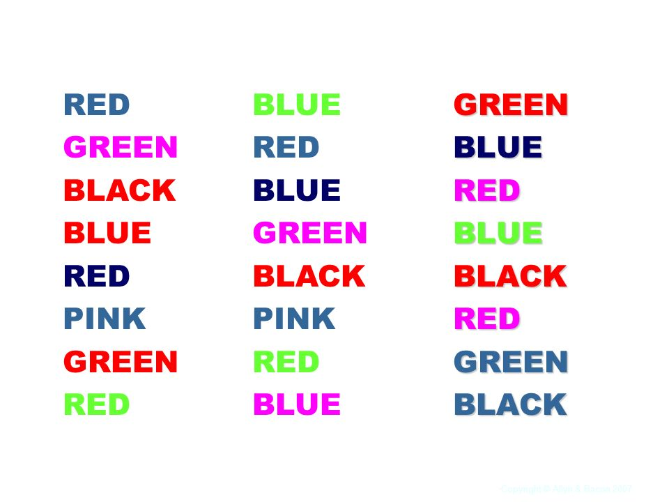 RED GREEN BLACK BLUE PINK BLUE RED GREEN BLACK PINK GREEN BLUE RED BLACK