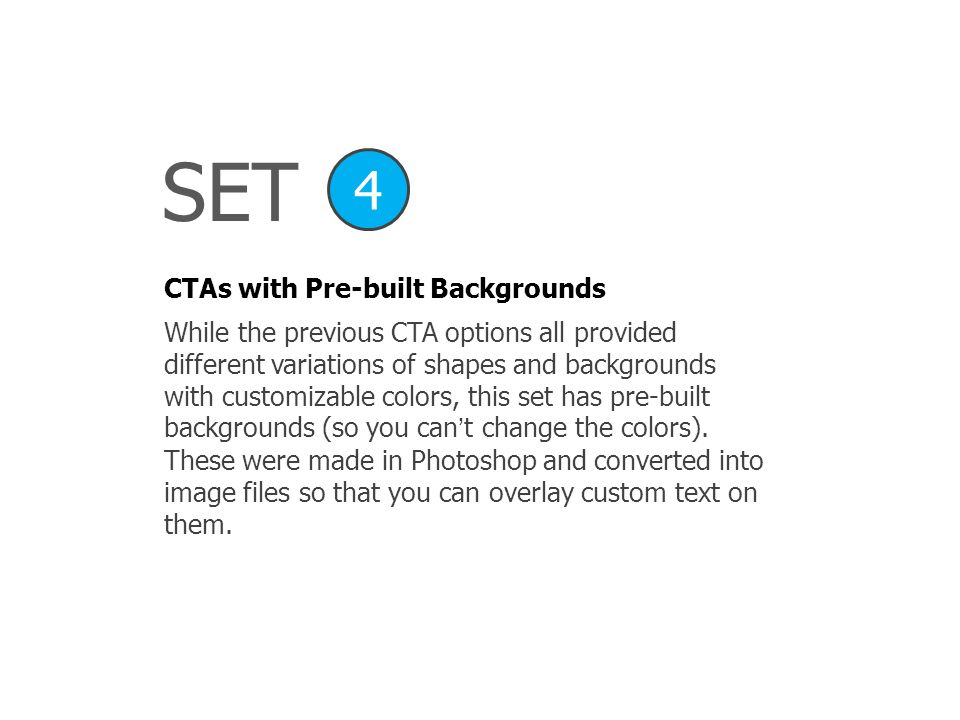 SET 4 CTAs with Pre-built Backgrounds