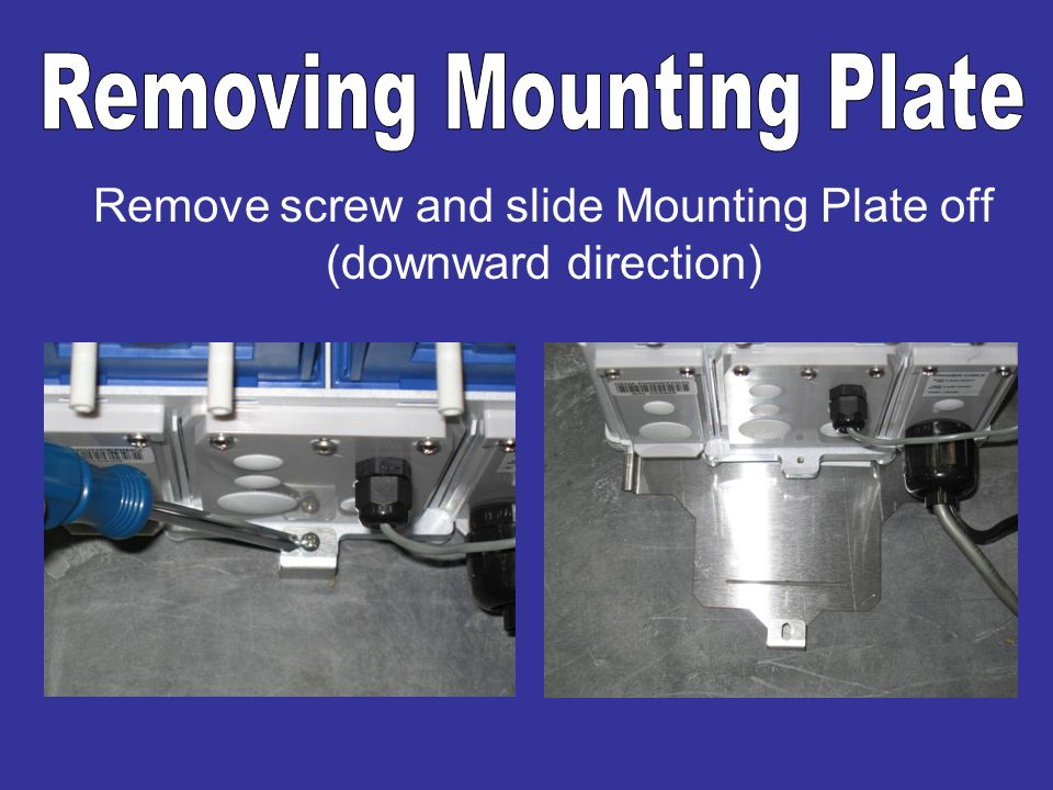 Remove screw and slide Mounting Plate off (downward direction)