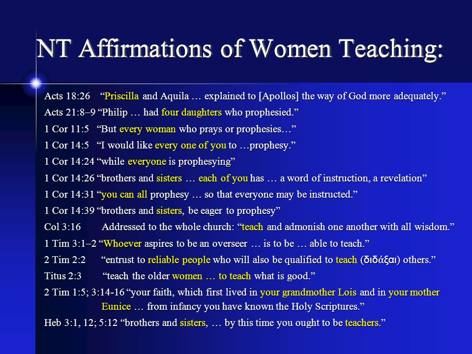 NT Affirmations of Women Teaching: