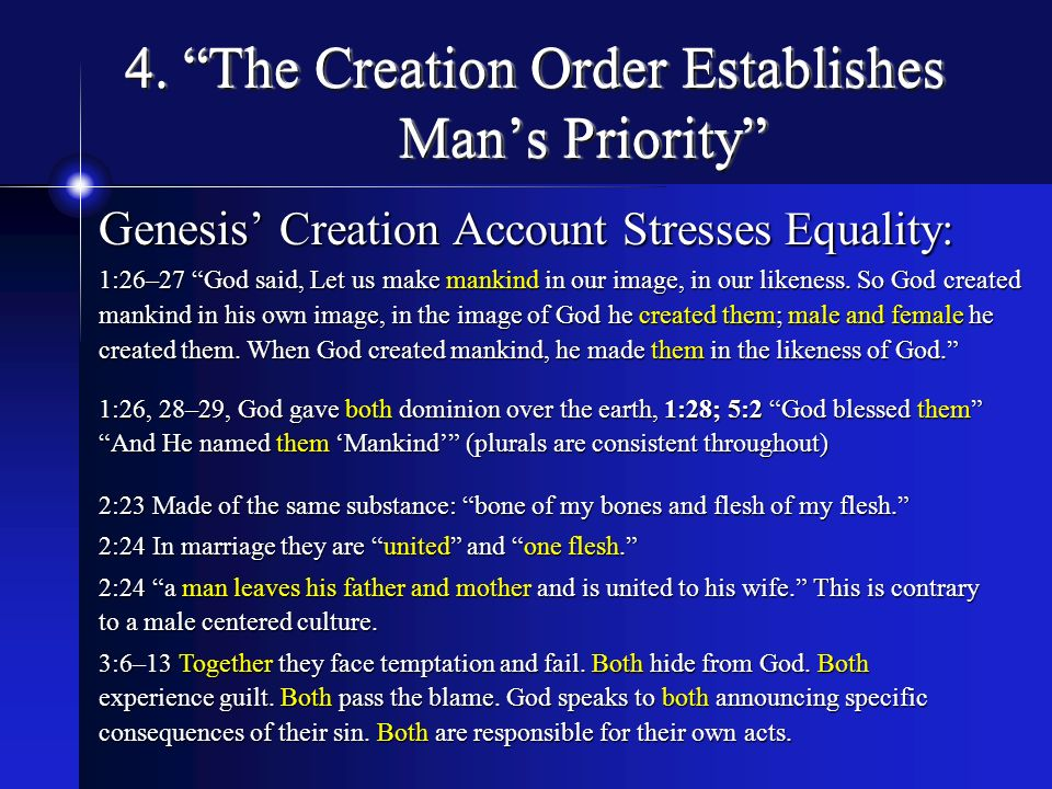 4. The Creation Order Establishes Man's Priority