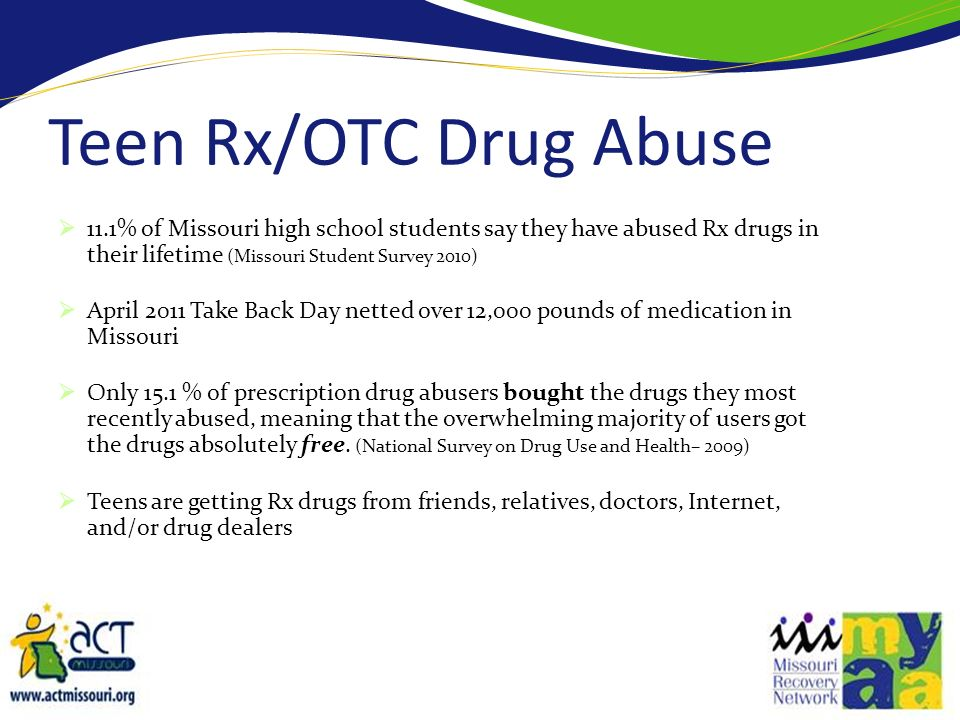 Teen Rx/OTC Drug Abuse 11.1% of Missouri high school students say they have abused Rx drugs in their lifetime (Missouri Student Survey 2010)