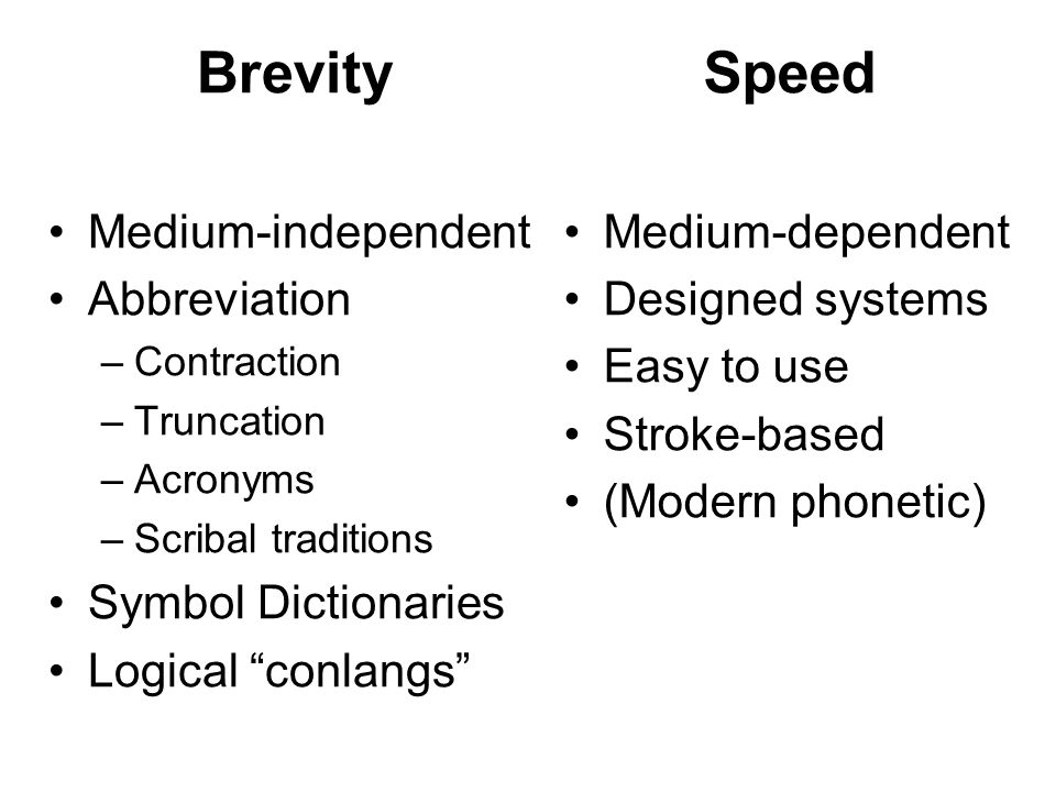 Brevity Speed Medium-independent Abbreviation Symbol Dictionaries
