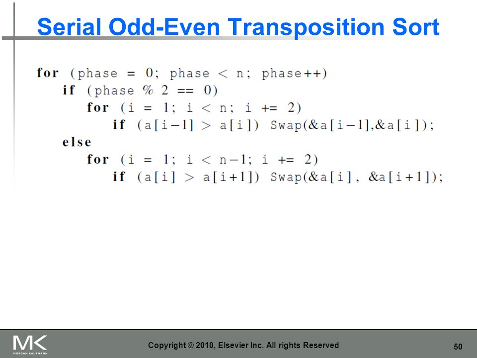 Serial Odd-Even Transposition Sort