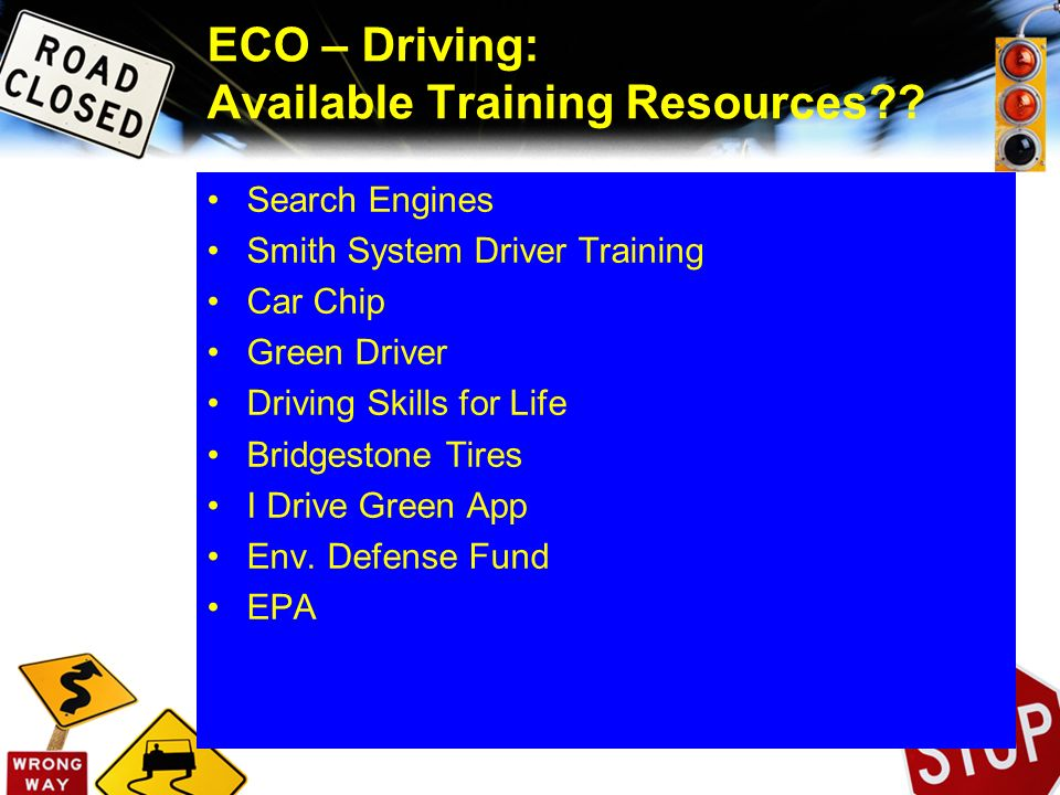 ECO – Driving: Available Training Resources