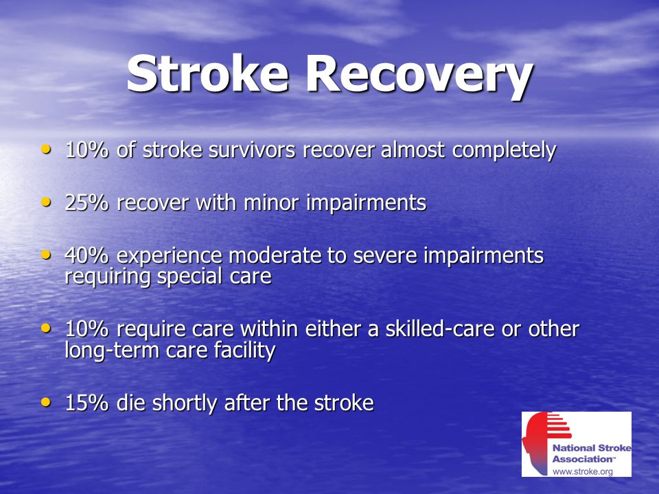 Stroke Recovery 10% of stroke survivors recover almost completely