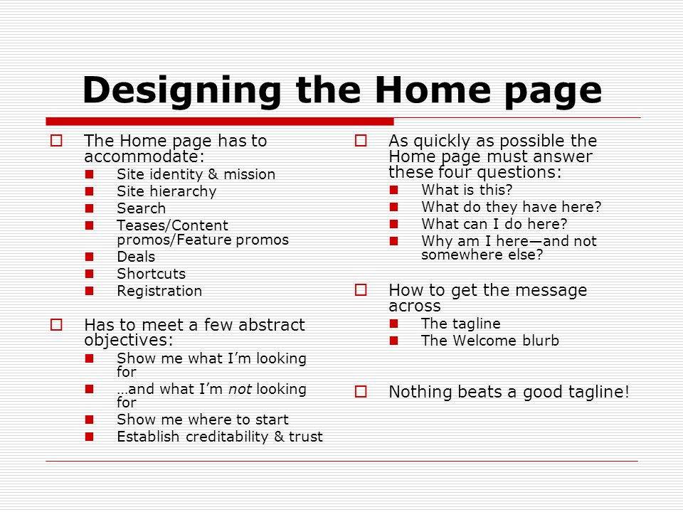 Designing the Home page
