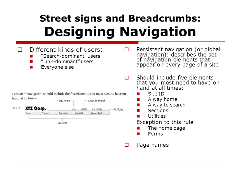 Street signs and Breadcrumbs: Designing Navigation