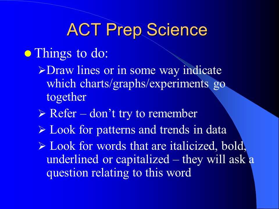 ACT Prep Science Things to do: