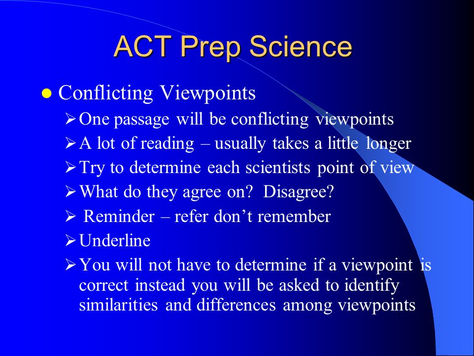 ACT Prep Science Conflicting Viewpoints