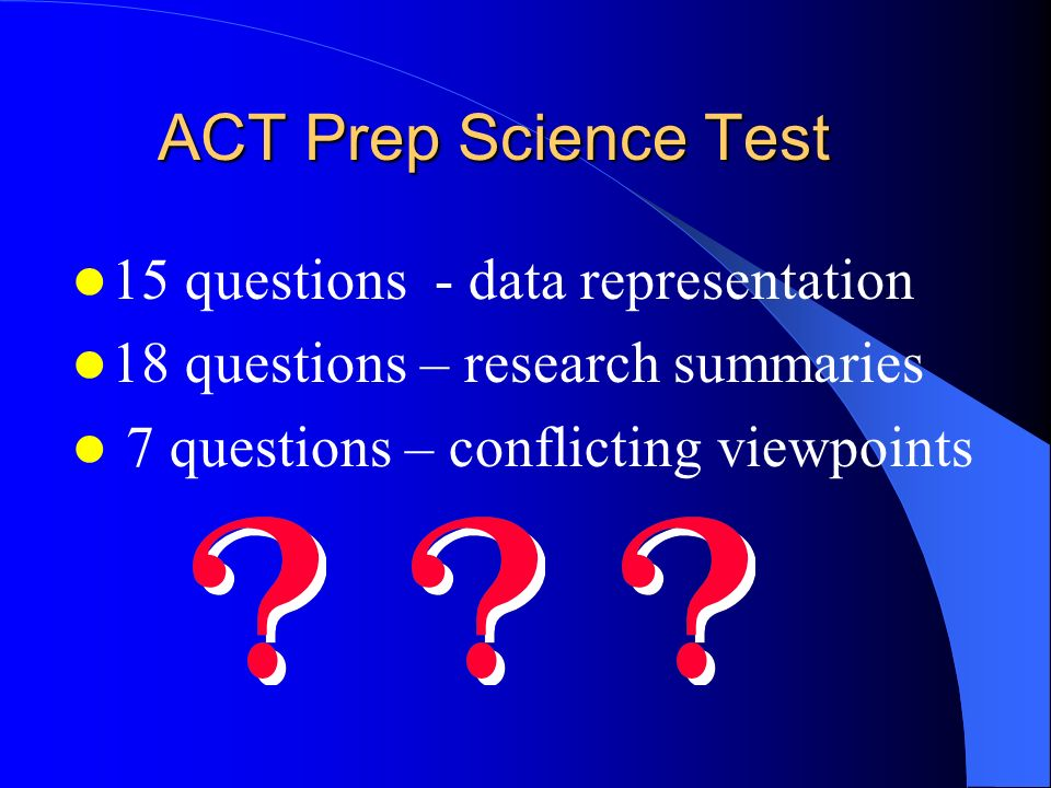ACT Prep Science Test 15 questions - data representation