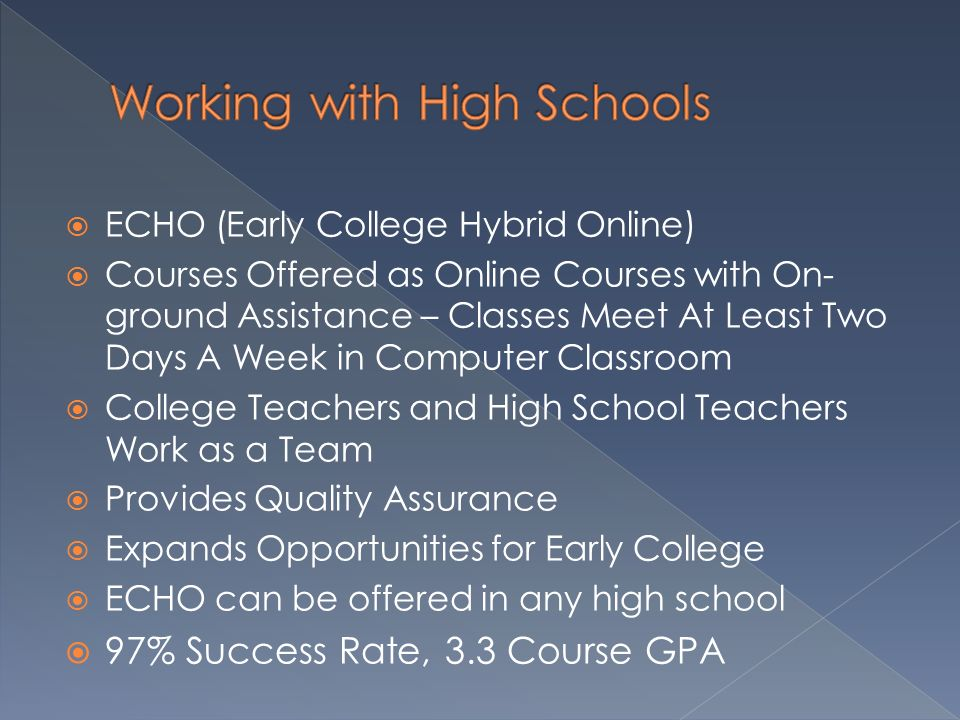 Working with High Schools