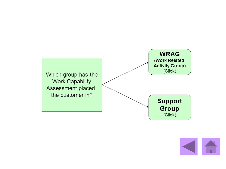 WRAG Support Group Which group has the Work Capability