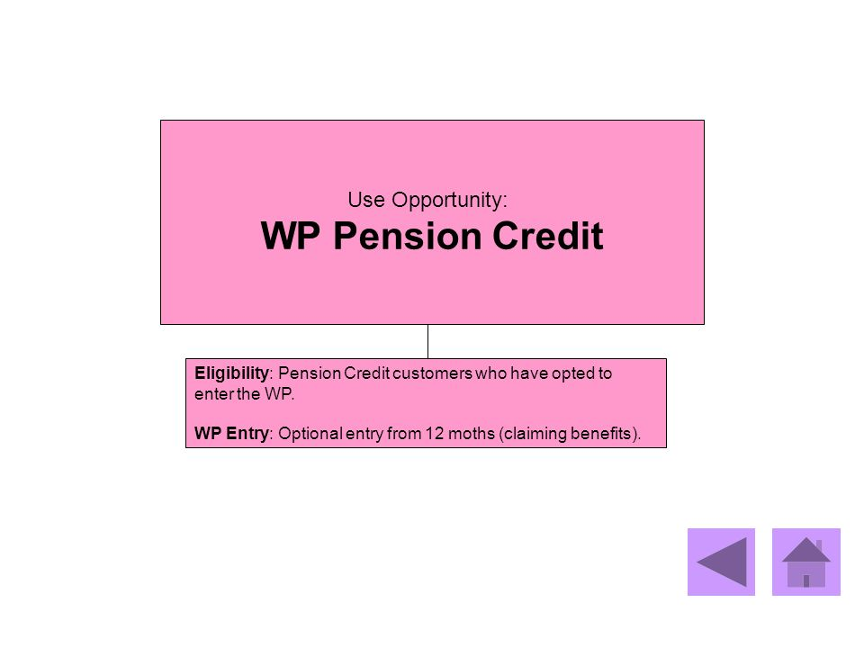 WP Pension Credit Use Opportunity: