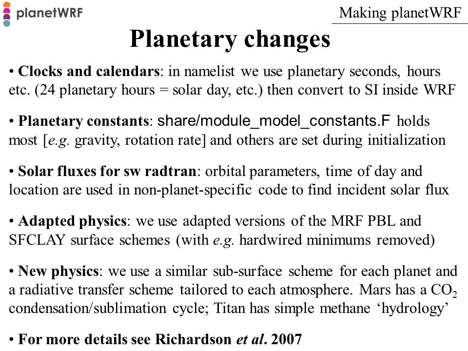 Planetary changes Making planetWRF