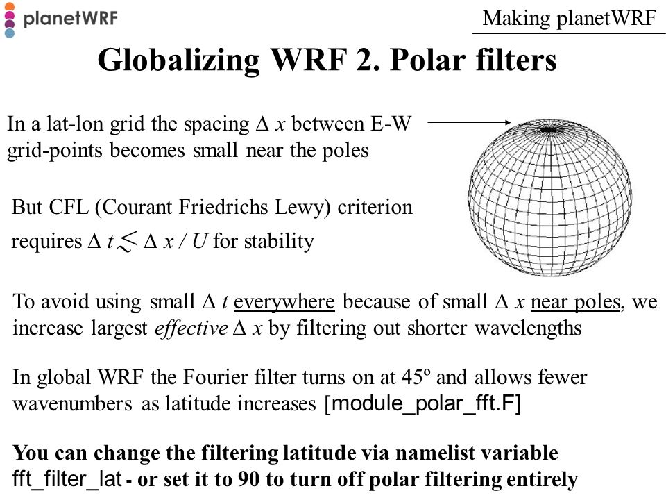 Globalizing WRF 2. Polar filters