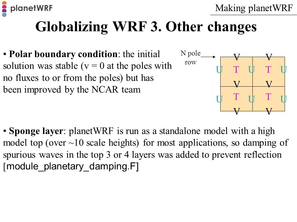 Globalizing WRF 3. Other changes