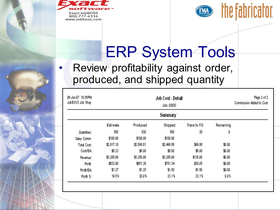 ERP System Tools Review profitability against order, produced, and shipped quantity