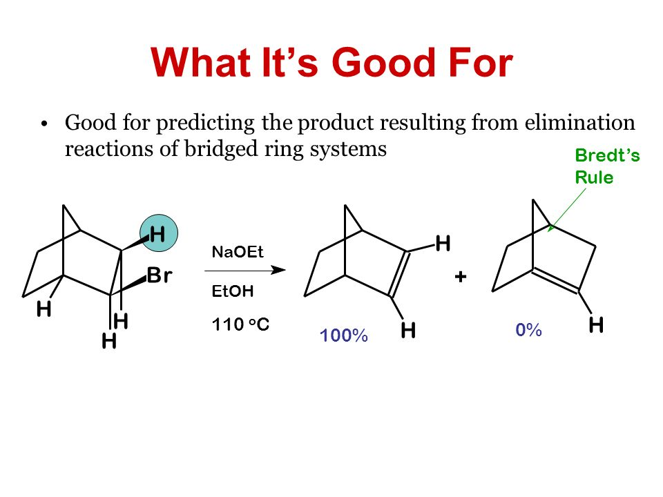 What It's Good For Good for predicting the product resulting from elimination reactions of bridged ring systems.