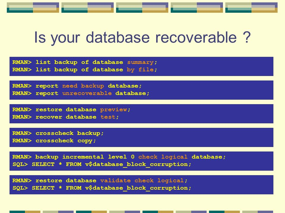 Is your database recoverable