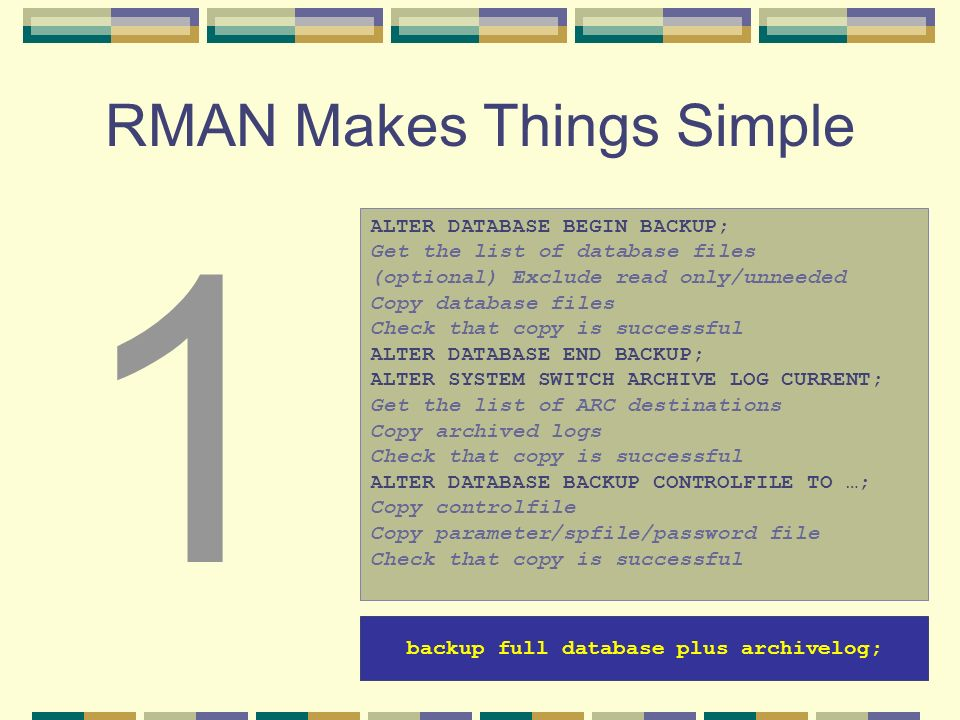 RMAN Makes Things Simple