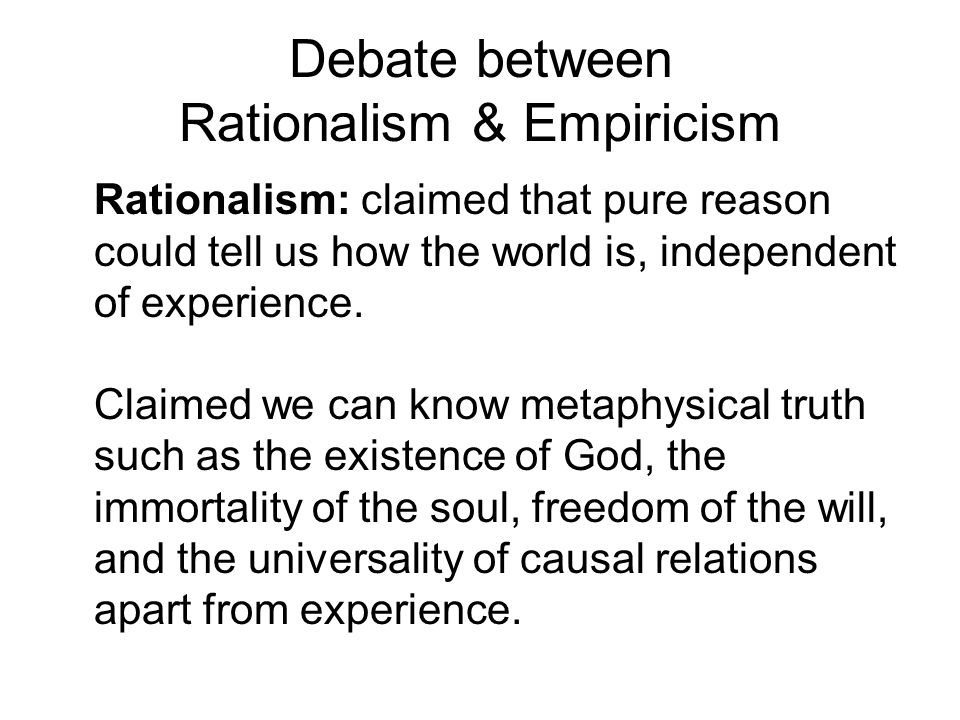 Debate between Rationalism & Empiricism