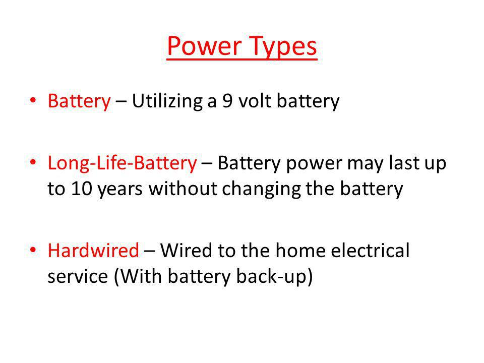 Power Types Battery – Utilizing a 9 volt battery