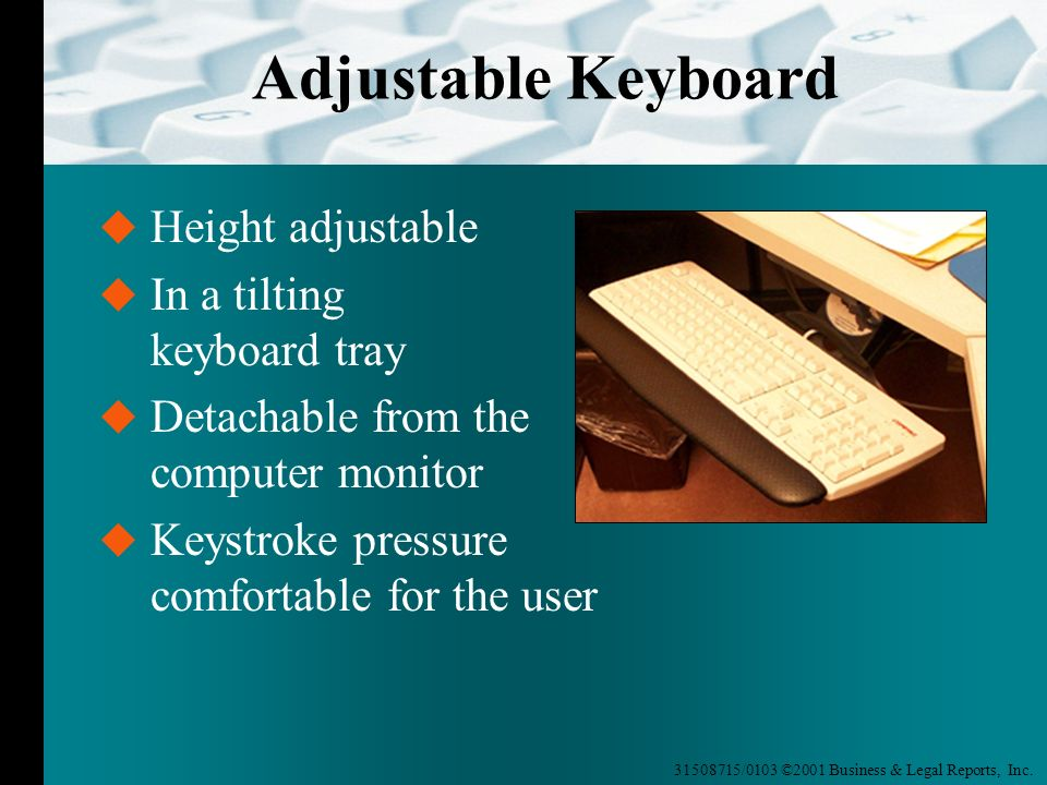 Adjustable Keyboard Height adjustable In a tilting keyboard tray