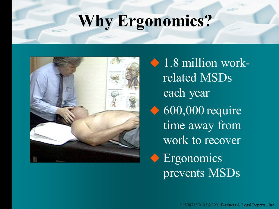 Why Ergonomics 1.8 million work-related MSDs each year